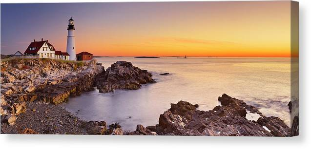 Water's Edge Canvas Print featuring the photograph Portland Head Lighthouse, Maine, Usa At by Sara winter