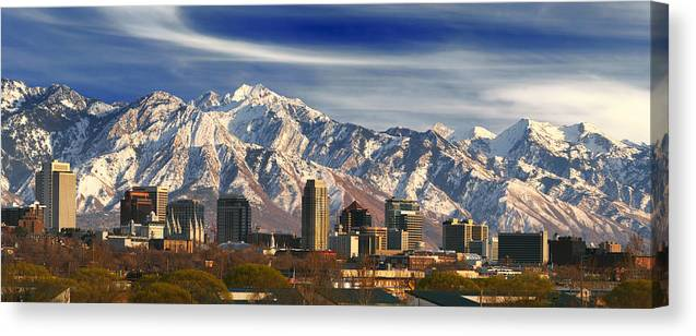 Salt Lake City Skyline Canvas Print Canvas Art By Douglas Pulsipher