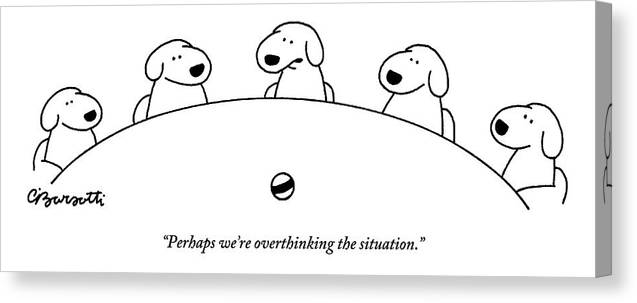 Dogs Canvas Print featuring the drawing Five Dogs Sitting Around A Roundtable by Charles Barsotti