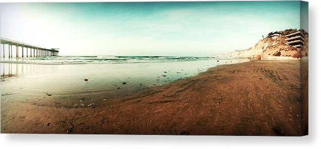 Nature Prints Canvas Print featuring the photograph La Jolla California Beach and Pier by Christine Bell
