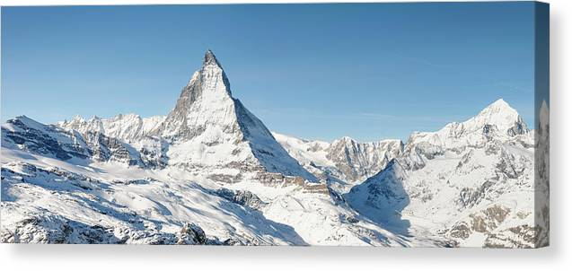 Scenics Canvas Print featuring the photograph Matterhorn Panorama by Georgeclerk