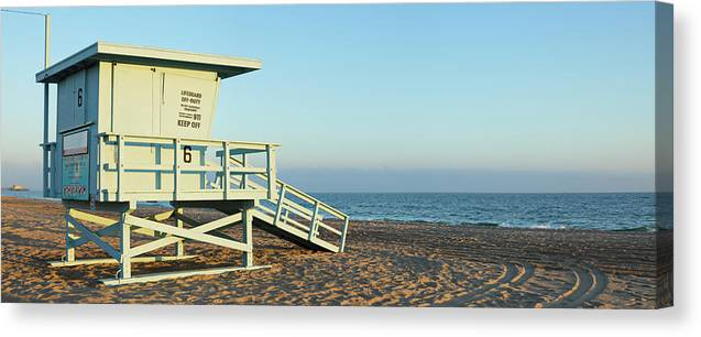 Water's Edge Canvas Print featuring the photograph Santa Monica Lifeguard Station by S. Greg Panosian