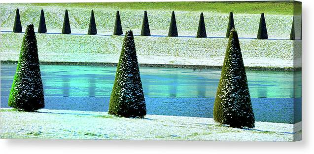 Tranquility Canvas Print featuring the photograph Snow Covered Garden by Martial Colomb
