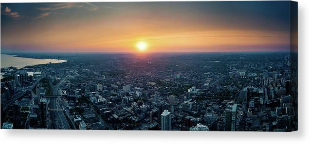 Downtown District Canvas Print featuring the photograph Sunset Over Toronto Downtown City by D3sign