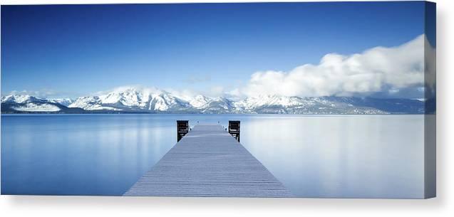 Lake Canvas Print featuring the photograph Lake Tahoe Panorama by Matthew Train