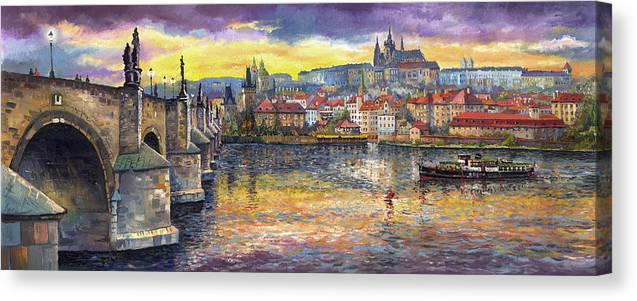 Oil On Canvas Canvas Print featuring the painting Prague Charles Bridge and Prague Castle with the Vltava River 1 by Yuriy Shevchuk