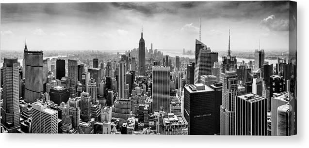 Panorama Photo Canvas Print featuring the photograph New York City Skyline BW by Az Jackson