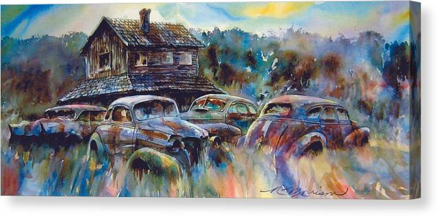 Old Rusty Dilapidated Cars House Canvas Print featuring the painting The Wide Spread by Ron Morrison