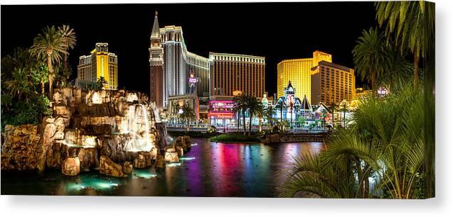 Las Vegas Canvas Print featuring the photograph Treasure Island View by Az Jackson