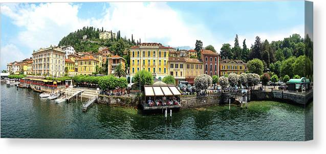 Tranquility Canvas Print featuring the photograph Panorama Of Bellagio From Lake Como by Melinda Moore