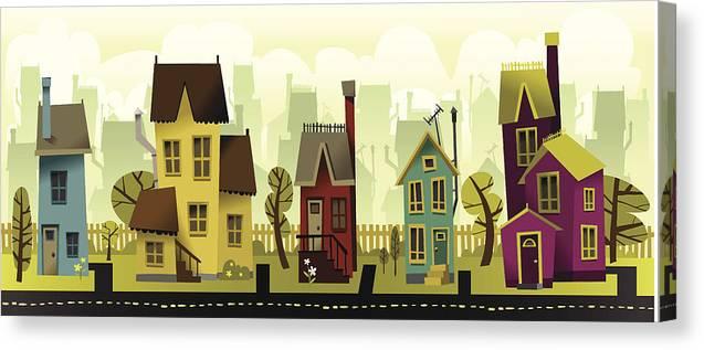 Grass Canvas Print featuring the digital art Seamless Neighborhood by Doodlemachine