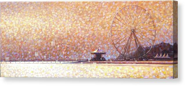 Canvas Print featuring the painting Carousel of Arcachon by Rob Buntin