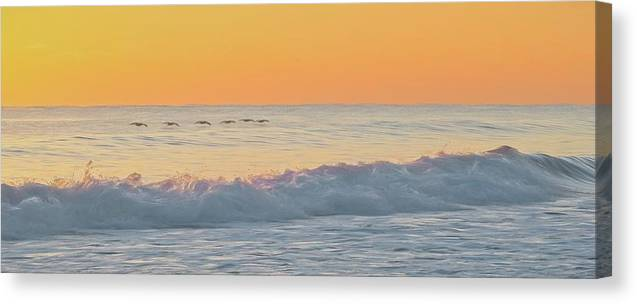 Seascape Canvas Print featuring the mixed media Surfline by Steve DaPonte