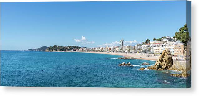 Lloret Canvas Print featuring the photograph The Town Of Lloret De Mar From The Cami De Ronda by Vicen Photography