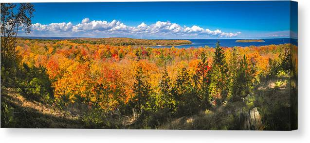 Door County Canvas Print featuring the photograph Autumn Vistas of Nicolet Bay by Ever-Curious Photography