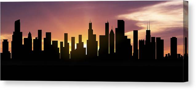 Chicago Skyline Panorama Sunset Canvas Print Canvas Art By Aged Pixel
