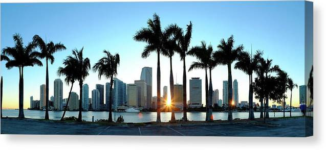 Downtown District Canvas Print featuring the photograph Miami Skyline Viewed Over Marina by Travelpix Ltd