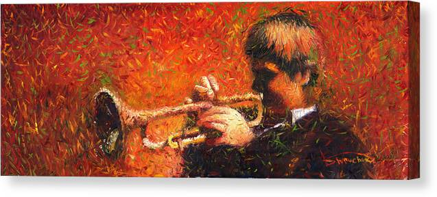 Jazz Canvas Print featuring the painting Jazz Trumpeter by Yuriy Shevchuk