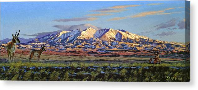 Mountains Canvas Print featuring the painting Crazy Mountains-Morning by Paul Krapf