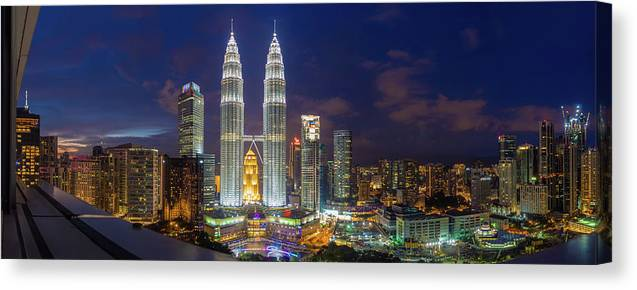 Panoramic Canvas Print featuring the photograph Panoramic View Of Petronas Twin Towers by Www.imagesbyhafiz.com