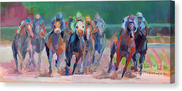 Saratoga Canvas Print featuring the painting And Down the Stretch They Com by Kimberly Santini
