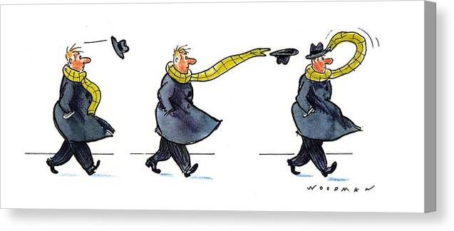 (sequence Of Three Drawings In Which A Man's Hat Is Blown Off By The Wind And His Very Long Scarf Reaches Out To Grab It) Nature Canvas Print featuring the drawing New Yorker January 25th, 1993 by Bill Woodman