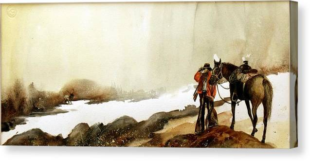 Horse And Rider Canvas Print featuring the painting Hey Back Here by Lynne Parker