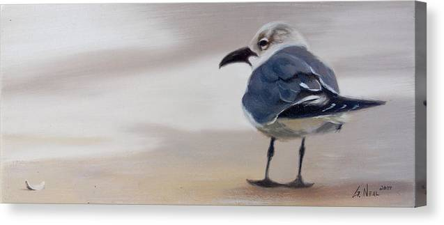 Painting Canvas Print featuring the painting A Walk on the Beach by Greg Neal