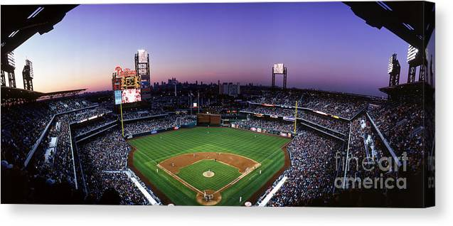 Panoramic Canvas Print featuring the photograph Montreal Expos V Philadelphia Phillies by Jerry Driendl