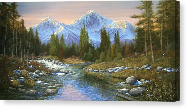 Landscape Canvas Print featuring the painting 100807-3060 Seasons Change by Kenneth Shanika