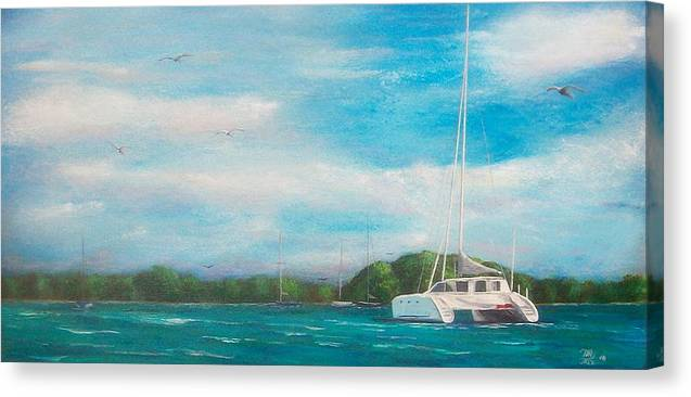Seascape Canvas Print featuring the painting Catamaran in Salinas Harbor by Tony Rodriguez