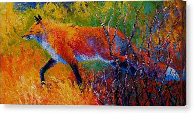 Red Fox Canvas Print featuring the painting Foxy - Red Fox by Marion Rose