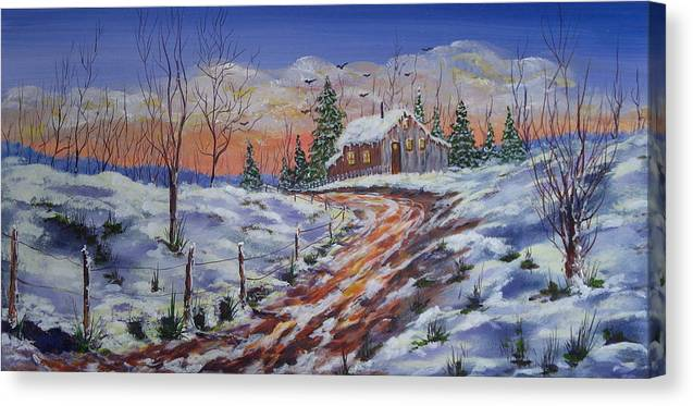 Landscape Canvas Print featuring the painting Winter Sunset by Thomas Restifo