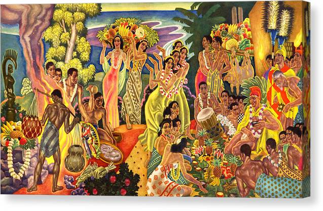 Hawaii Greeting Cards Canvas Print featuring the painting Island Feast by James Temple