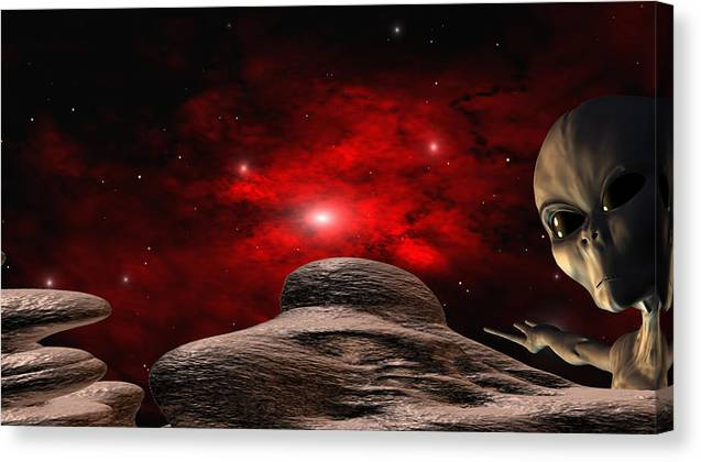 Space Canvas Print featuring the digital art Alien Planet by Robert aka Bobby Ray Howle