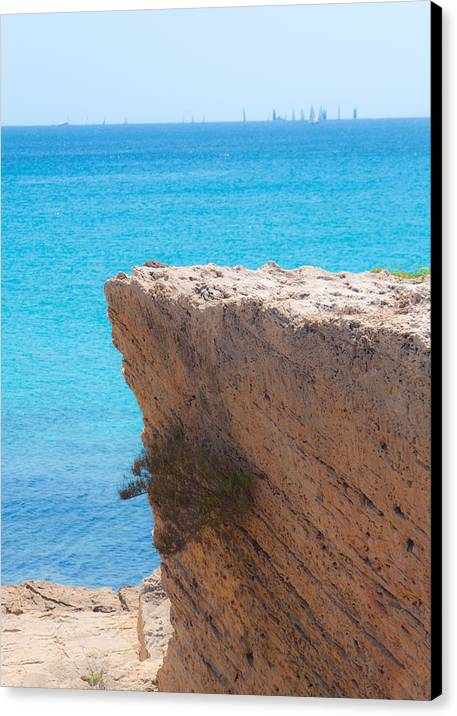 Cliff Canvas Print featuring the photograph Red Cliff And Regatta In The Blue by Ingela Christina Rahm