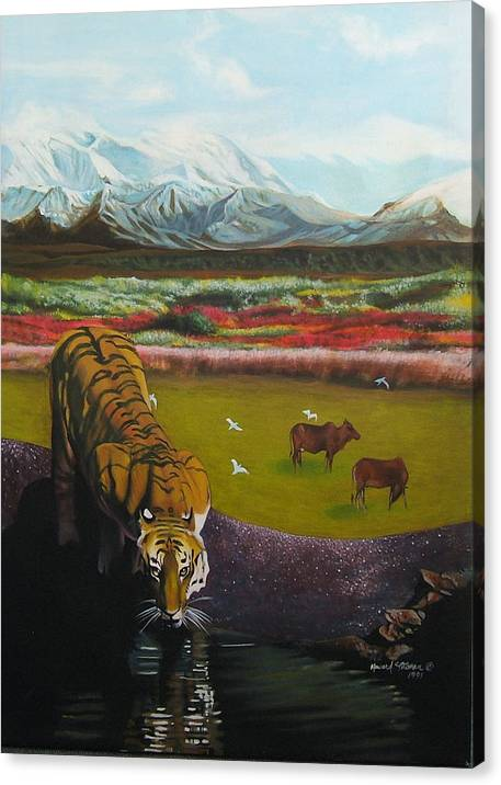 Tiger Canvas Print featuring the painting Tiger by Howard Stroman