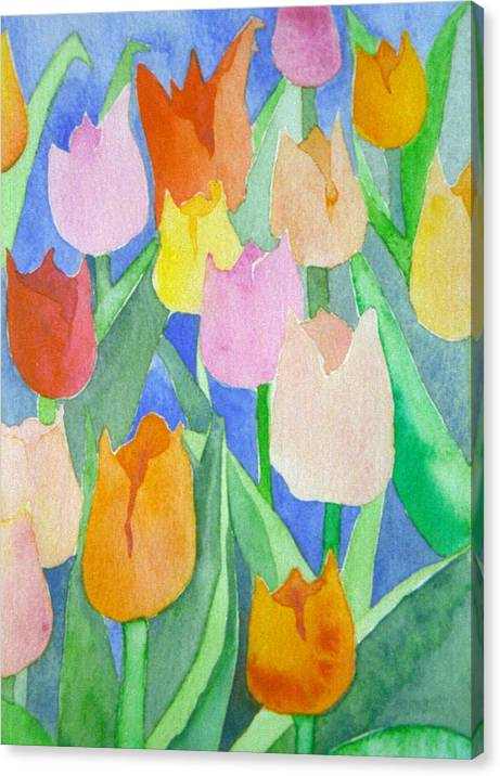 Tulips Canvas Print featuring the painting Tulips Multicolor by Ingela Christina Rahm