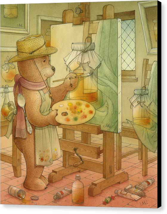 Artist Painting Bear Animals Honey Still-life Canvas Print featuring the painting Artist by Kestutis Kasparavicius