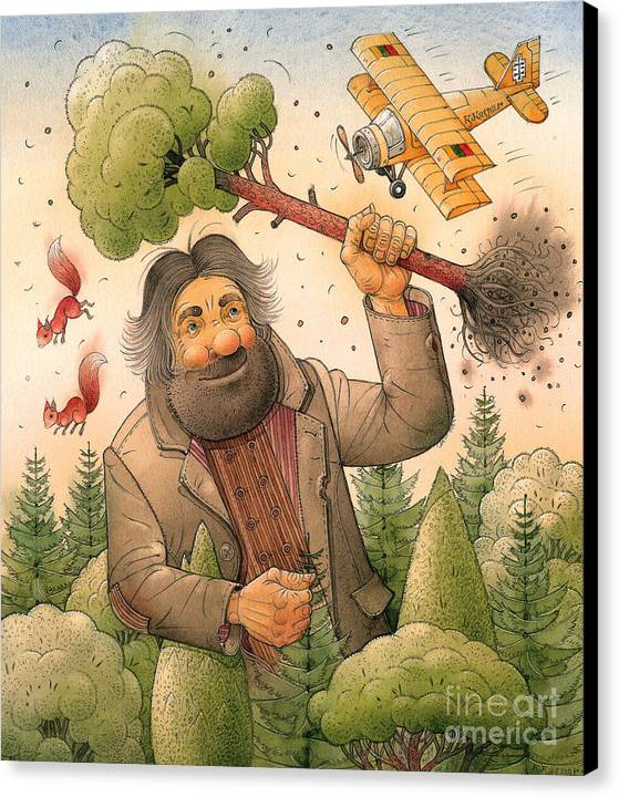 Giant Forest Landscape Tree Airplane Canvas Print featuring the painting Giant by Kestutis Kasparavicius