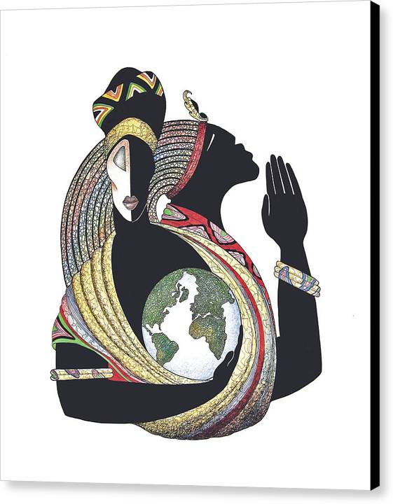 Couple Canvas Print featuring the mixed media Global Love by Albert and Simone Fennell