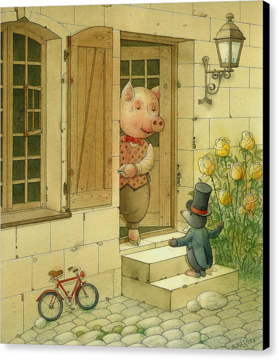 Singer Pig Mole Street Town Roses Animals Canvas Print featuring the painting Singing Piglet by Kestutis Kasparavicius