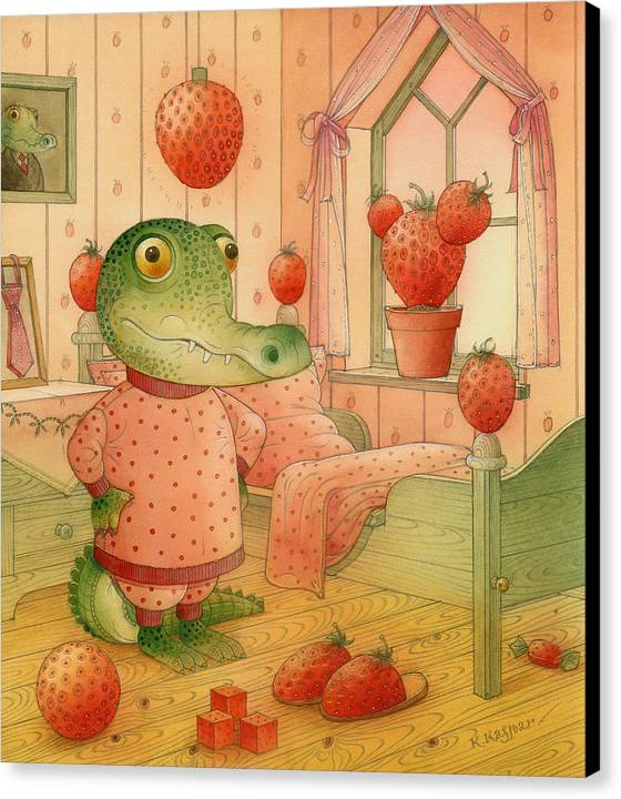Strawberry Childrens Room Dream Canvas Print featuring the painting Strawberry Day by Kestutis Kasparavicius