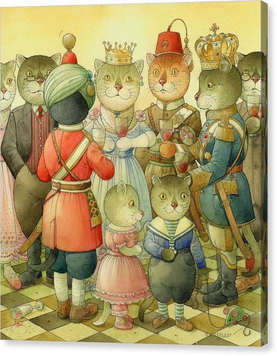 Cats Canvas Print featuring the painting Coctail Party by Kestutis Kasparavicius