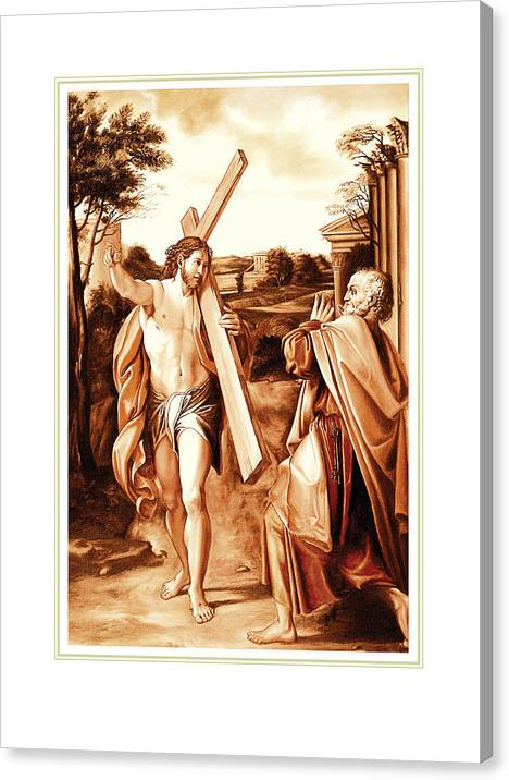 Lord Where Are You Going? Canvas Print featuring the painting Lord Where Are You Going by Santi Arts