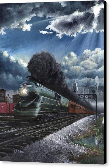 Train Canvas Print featuring the painting Eastbound Broadway Limited by David Mittner