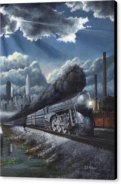 Train Canvas Print featuring the painting Eastbound Twentieth Century Limited by David Mittner
