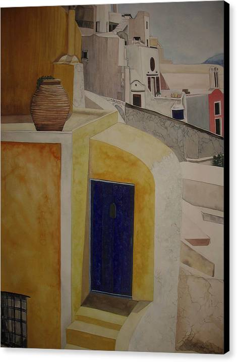 Watercolor Canvas Print featuring the painting Greekscape 2 by Caron Sloan Zuger