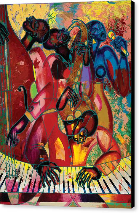 Figurative Canvas Print featuring the painting Musicfest by Larry Poncho Brown
