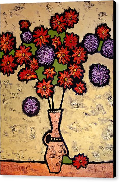 Still Life Canvas Print featuring the painting Red And Purple by Farhan Abouassali
